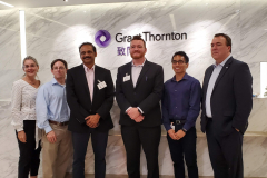 Pamela Gipson, Shawn Beinlich, Sachindra Gangupantula, Dr. Robert Allen King, and John Capua with Dr. Tim Klatte from Grant Thornton. Students learned about accounting, taxation, and auditing during their visit.