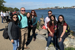 Veronica Potter, Brice Hicks, Dr. Anne Macy, Sarah Davis, Joshua Black, Becca Gerlich and Mary Hayward at The Little Mermaid Statue in Copenhagen. Hans Christian Andersen, author of The Little Mermaid, wrote many famous fairy tales while living in Nyhavn in Copenhagen, Denmark.